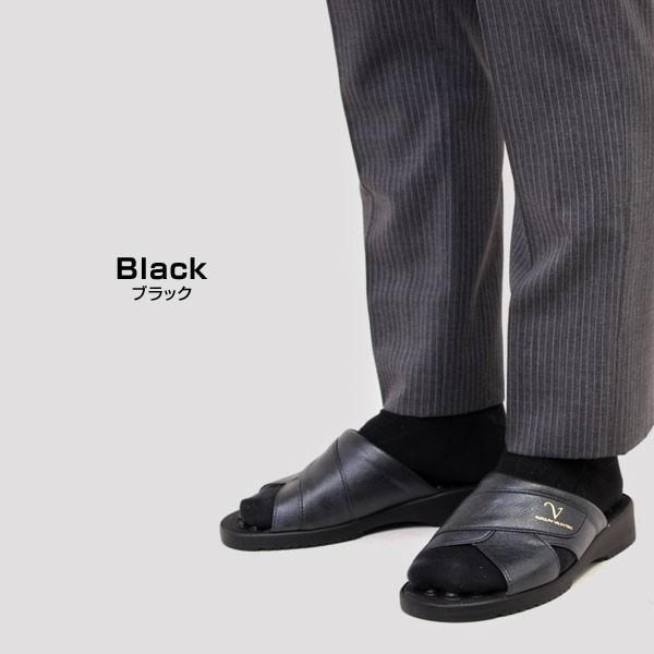 メンズ サンダル ヘップサンダル オフィスサンダル 健康サンダル 日本製 3E 前開き オフィス ヒール4cm  RUDOLPHVALENTINO ルドルフバレンチノ ブラック 2860|pennepenne|05