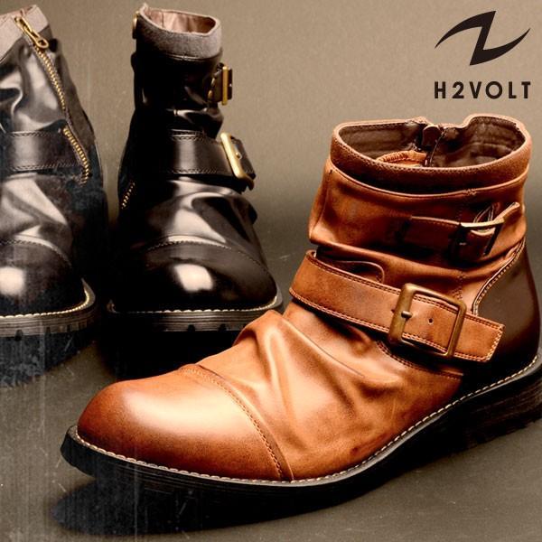 メンズ メンズブーツ サイドジップ ドレープ ショートブーツ ブーツ チャッカブーツ エンジニア ブーツ ハイカット H2VOLT エイチツーヴォルト 580 pennepenne