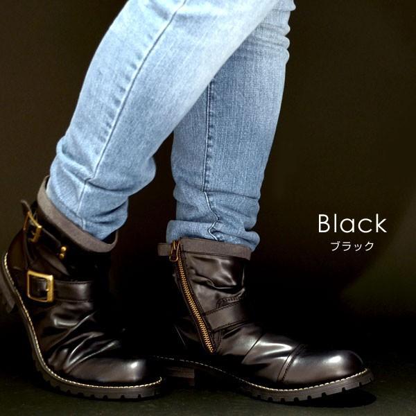 メンズ メンズブーツ サイドジップ ドレープ ショートブーツ ブーツ チャッカブーツ エンジニア ブーツ ハイカット H2VOLT エイチツーヴォルト 580 pennepenne 04