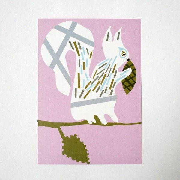 北欧フィンランドのポストカード/Squirrel/ファブリックファーム pepapape