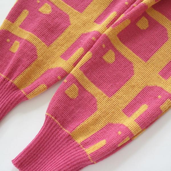 【クリックポスト対応】Johanna K. Design/パンツ ゾウ(ピンク×イエロー)/ウール100%/フィンランド/子供服/オーガニック|pepapape|02