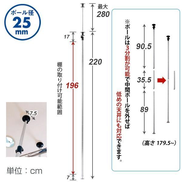 [25mm] ルミナス 突っ張り ポール スチールラック 高さ280 2本セット パーツ 25P-2228 perfect-space 02
