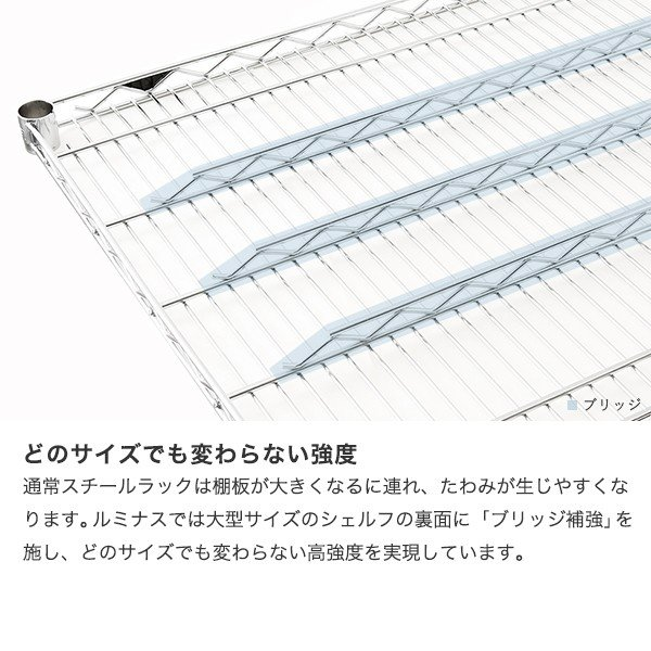 [25mm] ルミナスレギュラー スチールラック 幅180 奥行46 高さ155 4段 NLH1815-4 perfect-space 09