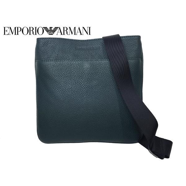 エンポリオ アルマーニ EMPORIO ARMANI Y4M055 YC89J 89848 型押し ロゴ入り ダークグリーン系レザー マチ無し メッセンジャーバッグ クロスボディーバッグ