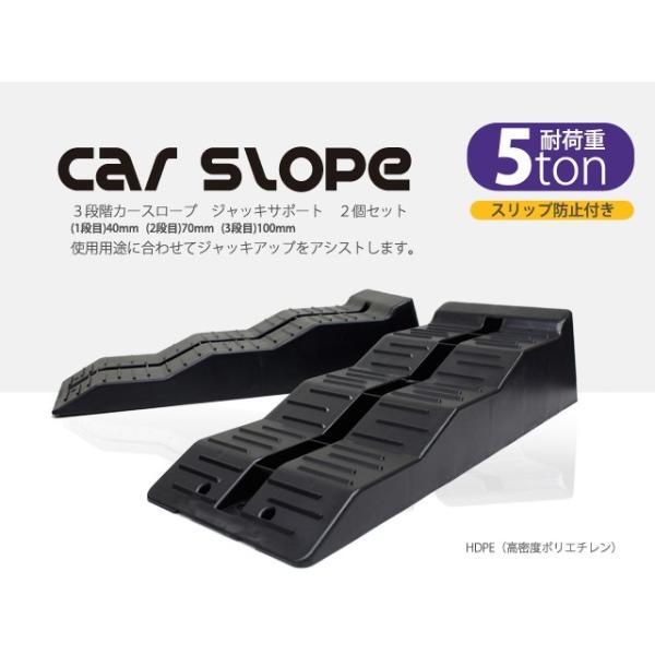 カースロープ 3段階式 耐荷重5トン 5t ラダーレール ガレージジャッキアップサポート カーランプ 2個セット スリップ防止付き 60日安心保証付