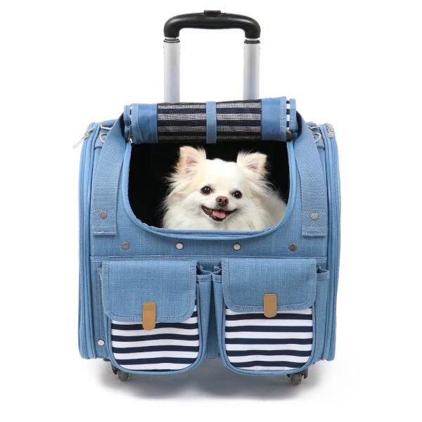 キャリーケース キャスター付き ペットカート ペット 犬 猫 多頭 キャリー カート 四輪 デニム風 オープン 四輪 コロコロ M(6キロ用) 一年保証