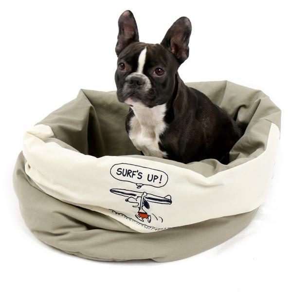 セール ひんやり 冷却 ペットパラダイス スヌーピーサーフ くるっと クール カドラー ベッド(55×55cm)