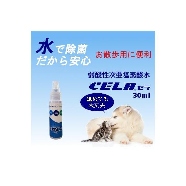 次亜塩素酸水 セラ水 CELA 50ppm インフルエンザ 予防 ノロウィルス 除菌 消臭 消毒 スプレー ノンアルコール 30mlスプレー1本 携帯用|petfan-sheri