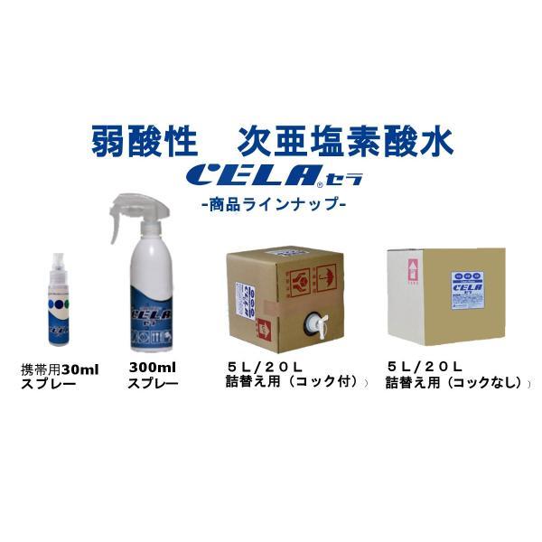 次亜塩素酸水 セラ水 CELA 50ppm インフルエンザ 予防 ノロウィルス 除菌 消臭 消毒 スプレー ノンアルコール 5リットル 1箱(コック付)|petfan-sheri|06