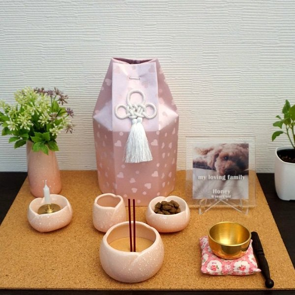 ペット 仏具 7点セット やわらぎ ピンク 香炉灰・ミニろうそく付き|petie|03