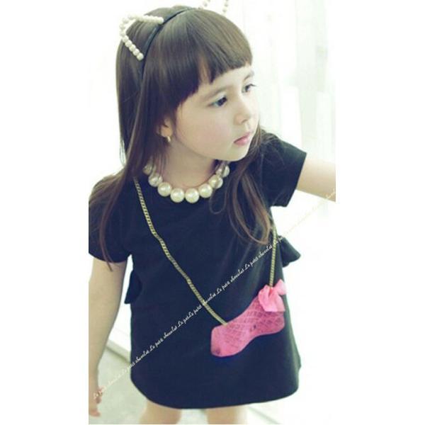 半袖 ワンピース 子供服 女の子 黒 白 韓国子供服