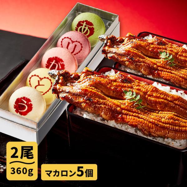 母の日ギフト お取り寄せグルメ 大阪の名店ごかせ川のうなぎ 180g×2本 スイーツの名店フォチェッタの母の日 メッセージマカロン5個セット 国産 鰻