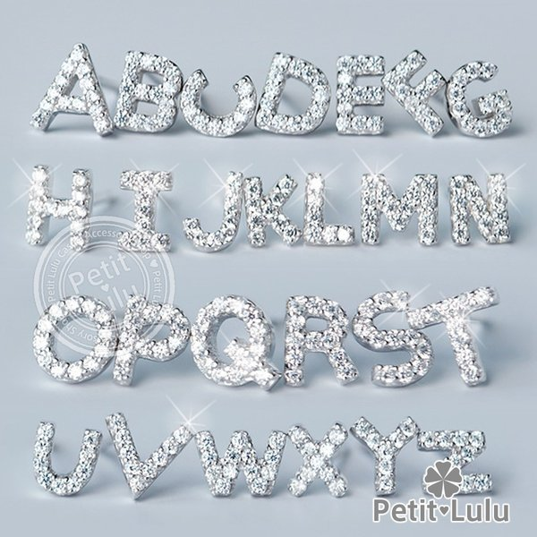 ピアス レディース 最高級スワロフスキー アルファベット パヴェ イニシャル k18 18金RGP 18k 925銀 petit-lulu