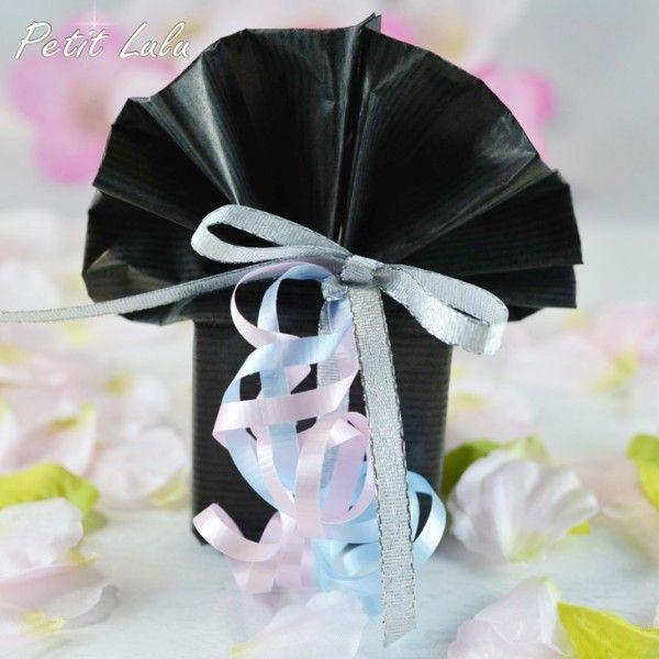 ※必ず宅配便をご選択お願いします!宅配便専用 クラフト包装紙(ブラック・扇型)+リボン(三色)|petit-lulu