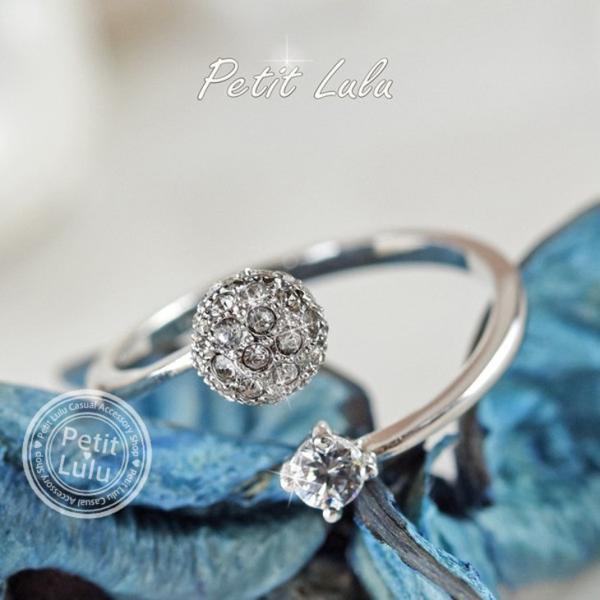 リング レディース/指輪 ダイヤモンドCZ /ファランジリング/C型リング フォークリング/かわいすぎる リング/18kRGP 二色展開|petit-lulu|02