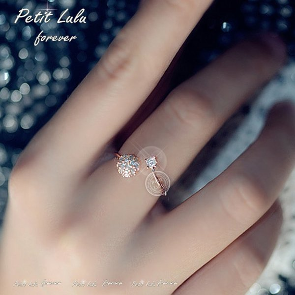 リング レディース/指輪 ダイヤモンドCZ /ファランジリング/C型リング フォークリング/かわいすぎる リング/18kRGP 二色展開|petit-lulu|04