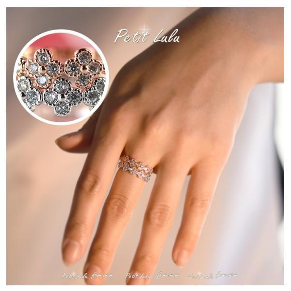 指輪 レディース リング スワロフスキー フラワーモチーフ 七つの四枚花 リング 18金RGP 二色展開 レディース アクセサリー|petit-lulu|05