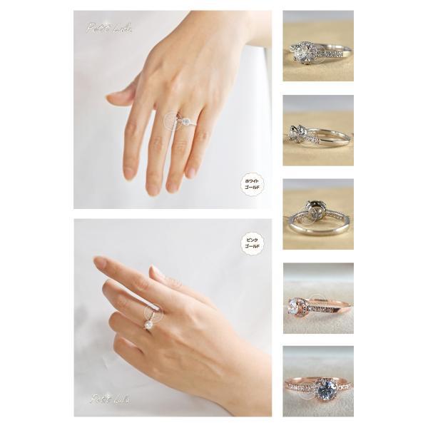 指輪 レディース リング 一粒スワロフスキー 4本爪 エタニティデザインリング 18K 18金RGP 二色展開|petit-lulu|03