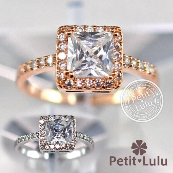 指輪 レディース リング ダイヤモンドCZ 大粒 プリンセスカット スクエア 18金RGP 誕生日 プレゼント ギフト