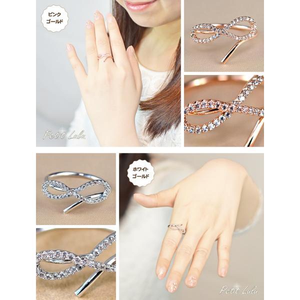 指輪 レディース リング ダイヤモンドCZ メビウスの輪 永遠の絆 18金RGP 2色展開|petit-lulu|03