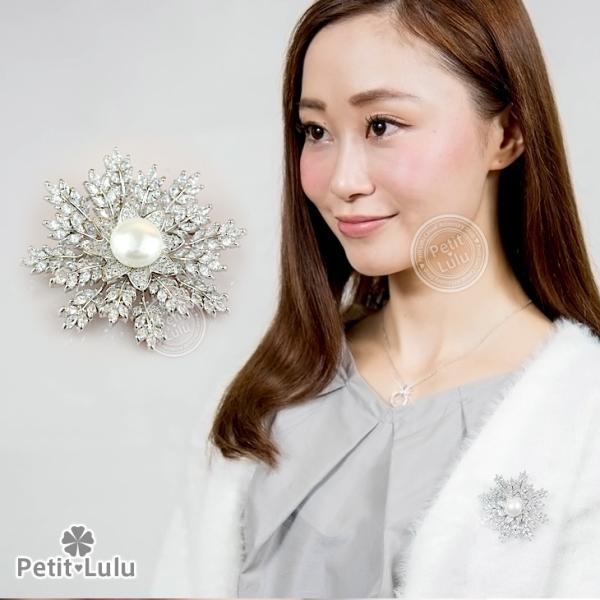 18K ブローチ AAA級ダイヤモンドCZ 150石 雪の華 エレガント 人気 RGP プチルル|petit-lulu|03
