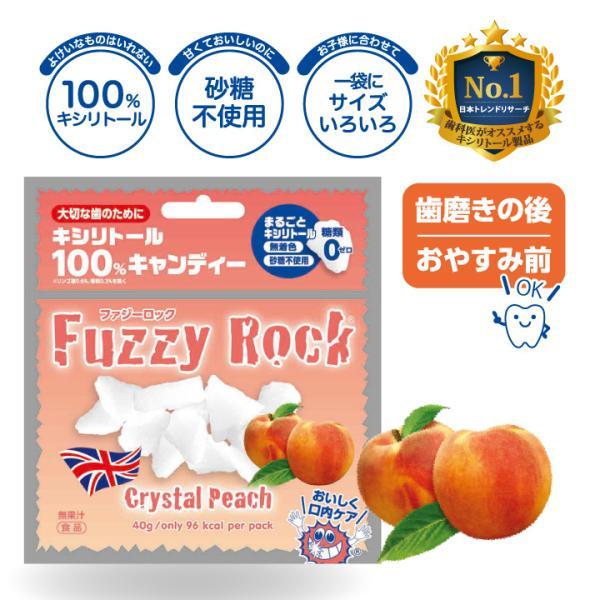 FuzzyRock ピーチ味 キシリトール 100% キャンディー タブレット あめ アメ こども 虫歯 甘い 歯磨き ノンシュガー 糖類 オフ 防災 歯 矯正|petittomall