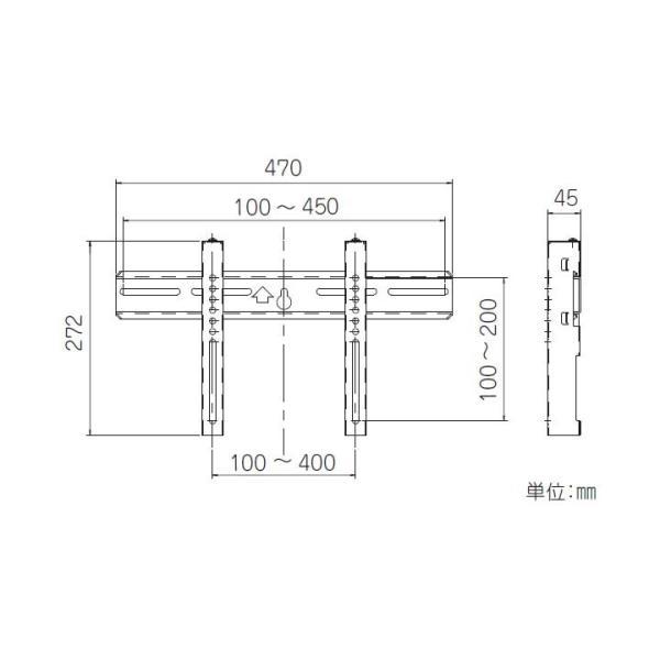 TV壁掛金具(垂直固定式) FA-WV-S2 日晴金属 (D)