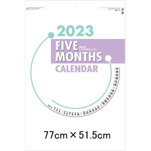 ファイブマンス文字 (B2版) 特大サイズ 5ヶ月表示 前月・後月3ヶ月入り 壁掛け カレンダー 2022 暦 文字月表 令和4年 パステルカラー