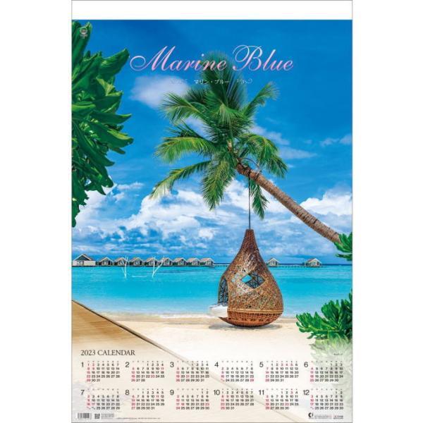 特大サイズフィルム マリンブルー 壁掛けカレンダー 2022 トーハンDX Marine Blue 2022カレンダー 海 沖縄 モルディブ 島