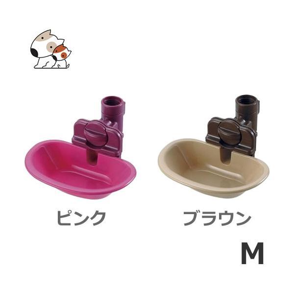 リッチェル ウォーターディッシュ M ピンク/ブラウン ケージ用 犬・猫用 ペット用給水器 500mLペットボトルまで対応