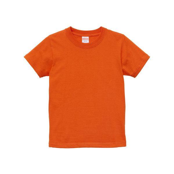 Tシャツ キッズ ボーイズ ガールズ 半袖 無地 uネック 厚手 綿 綿100 シャツ tシャツ スポーツ 子供 服 クルーネック 男 女 90 100 110 120 130 140 150 160 橙|petstore