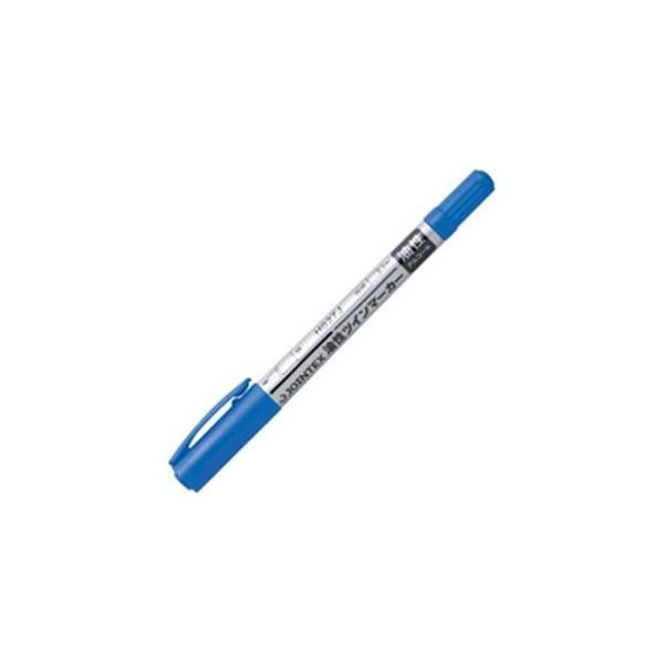 (まとめ)ジョインテックス 油性ツインマーカー細 青1本 H027J-BL 〔×50セット〕