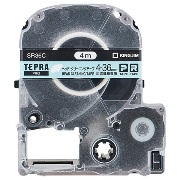 (まとめ) キングジム テプラ PRO テープカートリッジ ヘッドクリーニングテープ 36mm SR36C 1個 〔×2セット〕