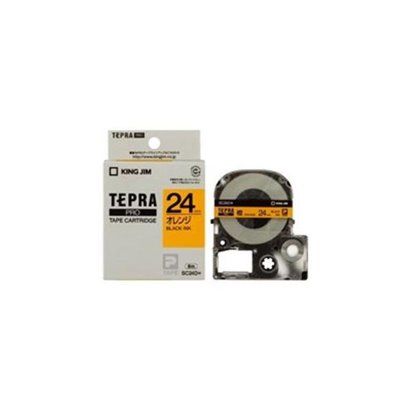 (業務用30セット) キングジム テプラPROテープ/ラベルライター用テープ 〔幅:24mm〕 SC24D 橙に黒文字