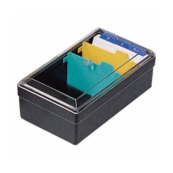 (まとめ) ライオン事務器 名刺整理箱W102×D180×H70mm 500枚収容 黒 No.51 1個 〔×10セット〕