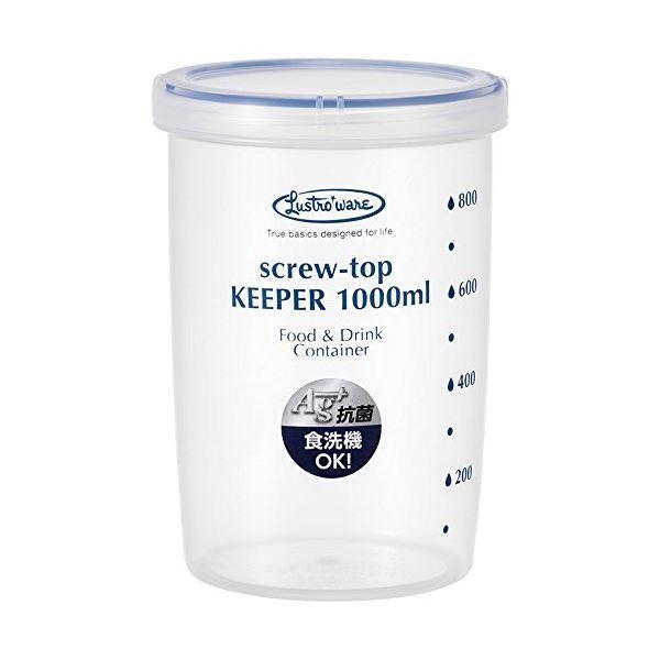 (まとめ) スクリュートップキーパー/保存容器 〔1000ml 深型〕 食洗機可 冷凍保存可 抗菌 完全密封 〔×100個セット〕