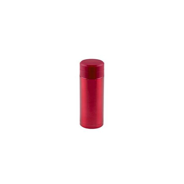 〔30個セット〕 スリム 水筒/ステンレスボトル 〔200ml レッド〕 スクリュー栓 真空断熱構造 抗菌剤プラス オミット