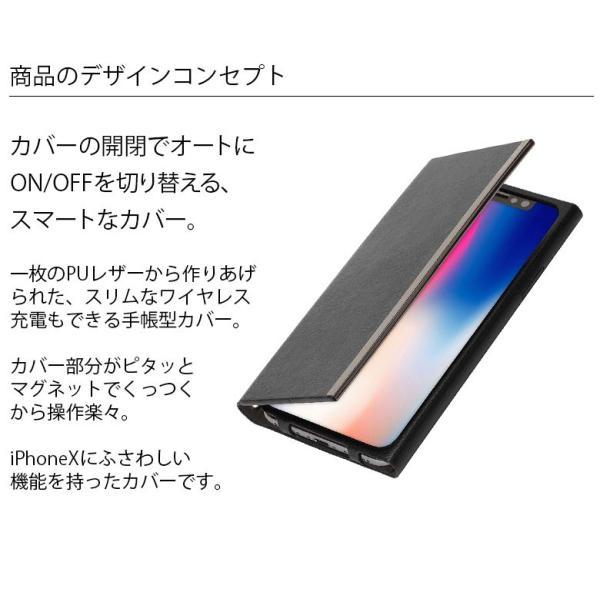 iPhoneX オールPUレザーフリップカバーシンプル 手帳型 アイフォンX pg-a 02