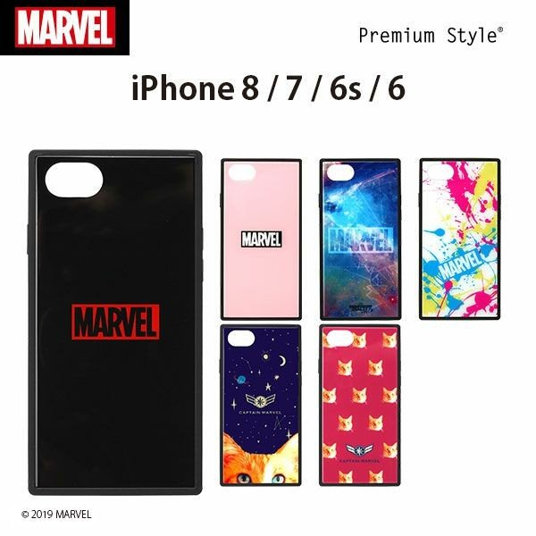 iPhone 8/7/6s/6用 MARVEL ガラスハイブリッドケース