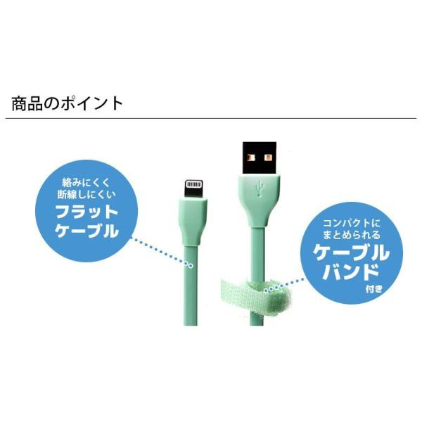 Lightning充電&通信フラットケーブル0.5m pg-a 02