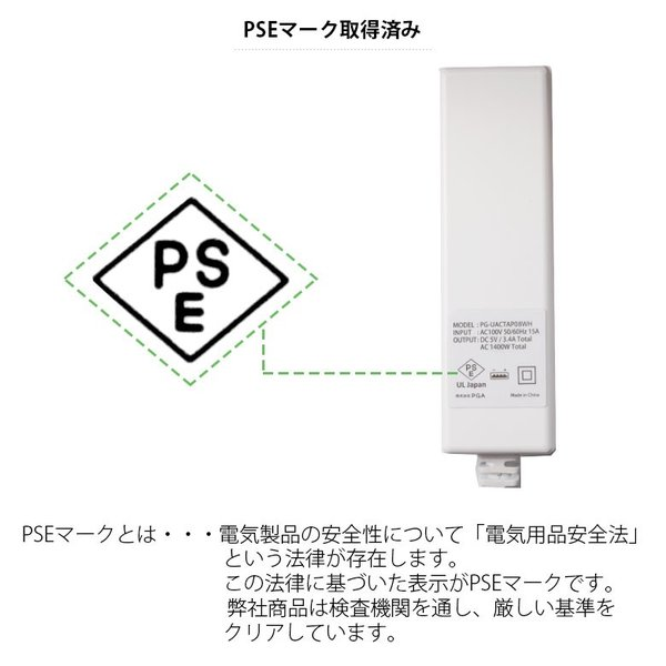 USBポート搭載 AC電源タップ|pg-a|06