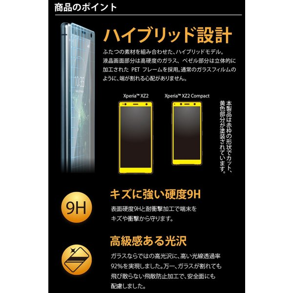 Xperia XZ2/XZ2 Compact 3D液晶全面保護ガラス PETフレーム pg-a 02
