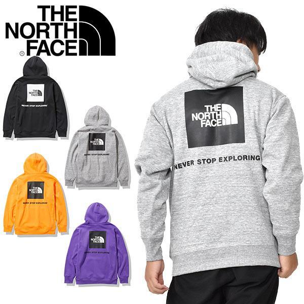 2020秋冬新作 裏起毛 スウェット パーカー THE NORTH FACE ザ・ノースフェイス バック スクエア ロゴ フーディー プルオーバー メンズ nt62040