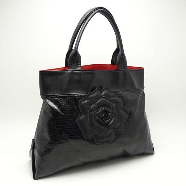 アートマキ Art Maki トートバッグ 型押しレザー 黒 ブラック 薔薇 バラ/053503【中古】
