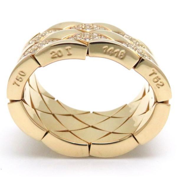 シャネル CHANEL マトラッセ リング ダイヤモンド K18YG #52 12号 750イエローゴールド 指輪/099711【中古】