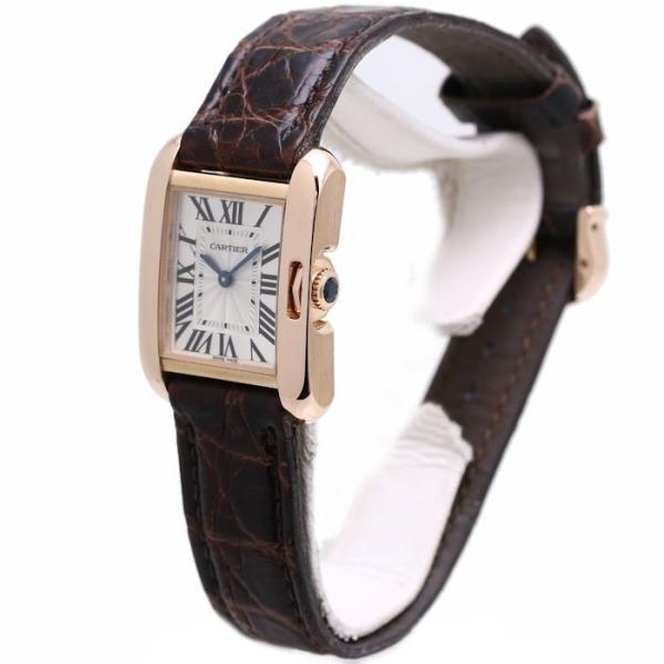 カルティエ CARTIER タンク アングレーズSM W5310027 シルバー文字盤 レディース 18K PG 無垢 /35945 【中古】 腕時計