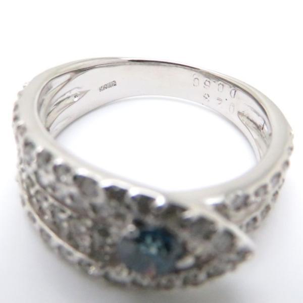 K18WG ダイヤモンドリング ブルーダイヤモンド0.23ct 0.60ct 12号 ホワイトゴールド 指輪/63315【中古】