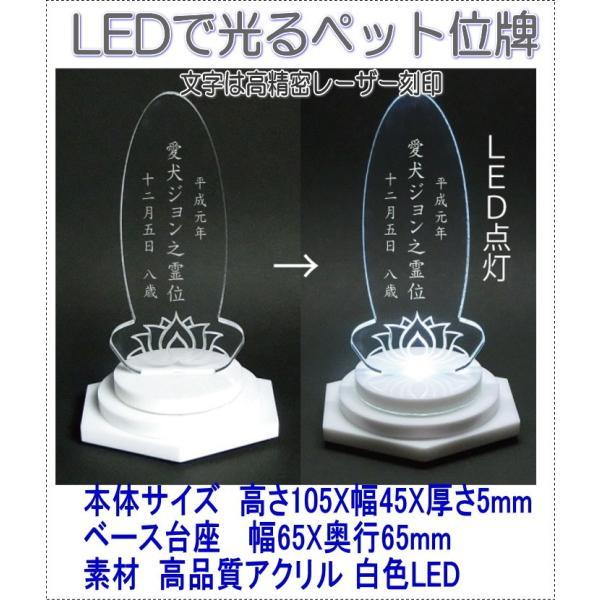 4650LEDできれいに光るペットアクリルミニLED位牌楕円蓮の花 白台座