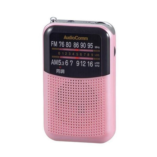 【日時指定可】OHM AudioComm AM/FMポケットラジオ ピンク RAD-P125N-P