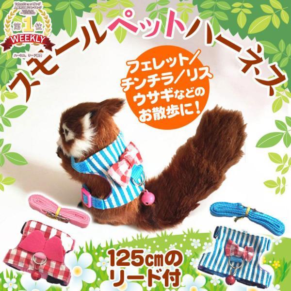 |小動物用ハーネス フェレット テン チンチラ リス ウサギ お散歩 リード/スモールペット ハーネス